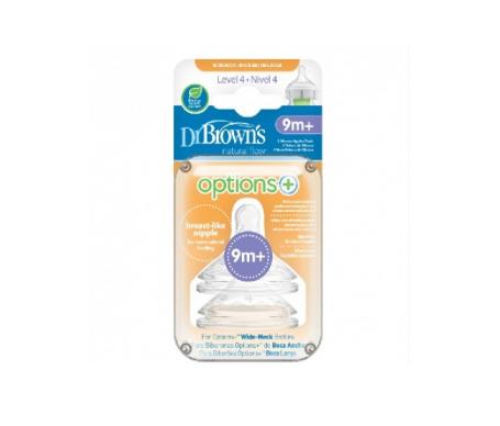 Dr Brown's tetina silicona boca ancha natural flow n4 2uds