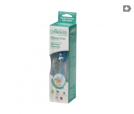 Dr. Brown´s Natural Flow biberón vidrio con tetina silicona anticólico 1ud