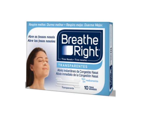 Breathe Right tiras nasales transparentes grandes 10uds