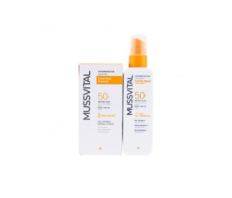 Mussvital fluido facial antiedad SPF50+ 50ml + loción spray SPF50+ 200ml