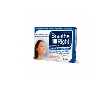 Breathe Right tiras adhesivas nasales T- Pequena/Mediana 10uds