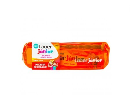 Lacer Junior Kit gel dental 75ml + cepillo dental 1ud + neceser color naranja de REGALO