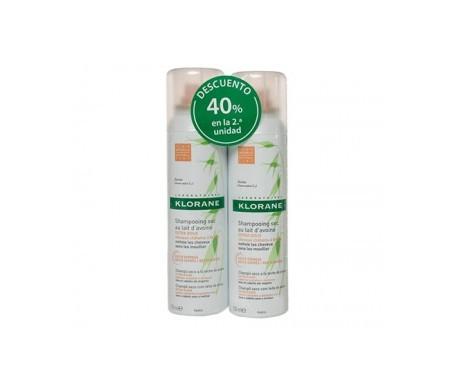 Klorane shampoo secco capelli castani 2x150ml