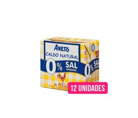 Aneto Natural caldo natural pollo 0% sal añadida 0,5l pack de 12uds