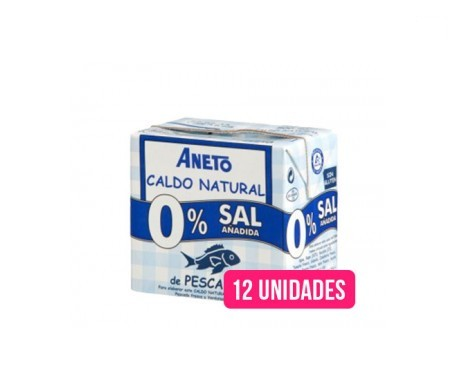 Aneto Natural caldo natural pescado 0% sal añadida 0,5l pack de 12uds