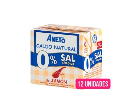 Aneto Natural caldo natural jamón 0% sal añadida 0,5l pack de 12uds