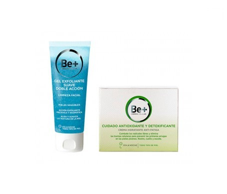 Be+ crema hidratante 50ml + gel exfoliante suave 75ml