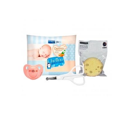Suavinex®  chupete 1ud + esponja hidrófila 1ud + Chelino pañales 28uds + toallitas 20uds
