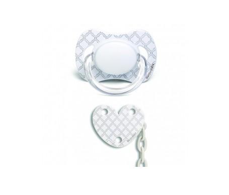 Suavinex® White chupete tetina anatómica látex 6-18m + broche corazón 1ud