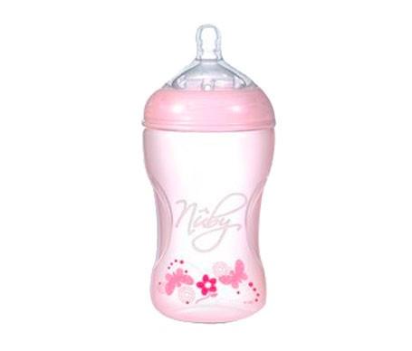 Nuby Natural Nurser biberón rosa tetina silicona 3 Posiciciones 300ml