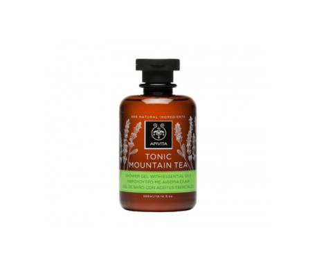 Apivita Tonic Mountain Tea gel de baño aceites esenciales 300ml