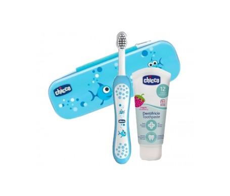 Chicco Pack cepillo de dientes azúl + pasta de dientes