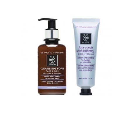 Apivita Pack crema facial y espuma limpiadora ojos 200ml + crema exfoliante 50ml
