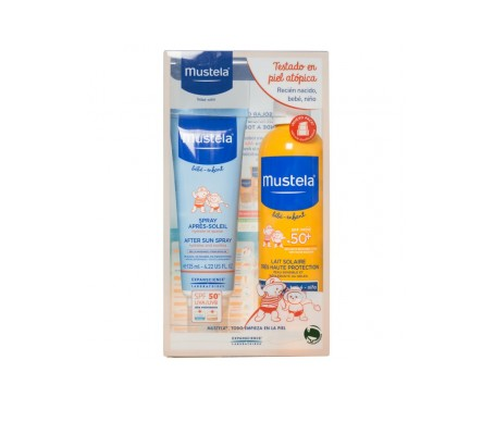 Mustela® Pack bebés y niños fotoprotector SPF50+ spray solar 300ml + Spray postsolar
