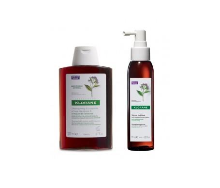 Klorane Capelli Perdita di Prevenzione Pack Quinina Fortificante Shampoo 400ml + Siero Forza 125ml