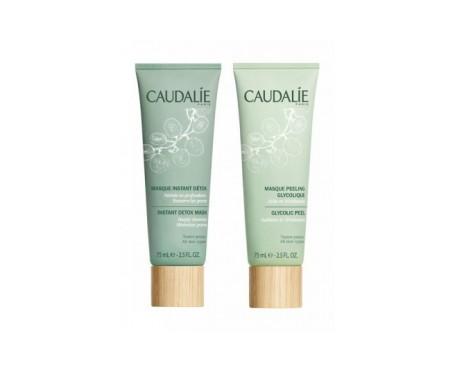 Caudalie mascarilla peeling glicólico 75ml + detoxificante 75ml