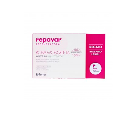Repavar® Pack Aceite puro de rosa mosqueta 15ml + Bálsamo nariz y labios SPF15+ 10ml
