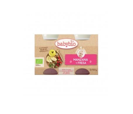 Babybio  Tarrito Ecológico De Manzana Y Fresa  2x130g