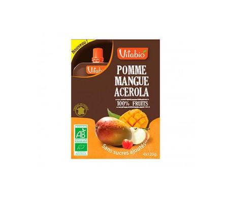 VitaBio Caja con 4 Bolsitas de Fruta Ecológica con Manzana, Mango y Piña Cool Fruits 4x90g