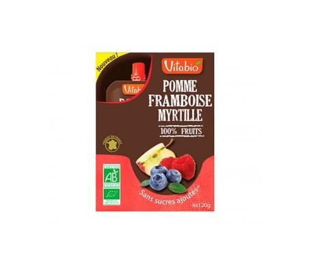 VitaBio Caja con 4 Bolsitas de Fruta Ecológica con Manzana, Fresas y Arándanos Cool Fruits 4x90 g