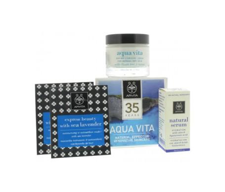 Apivita Pack Hidratación Total Express Beauty mascarilla  2uds +  crema fluida 50ml + sérum hidratante 30ml