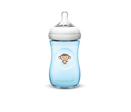 Avent Biberon Natural Silicona Azul Monitos +1m 260ml