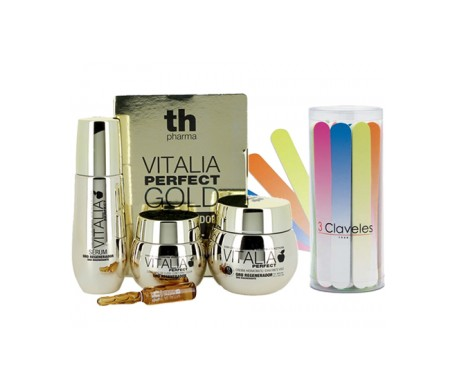 Th Pharma Perfect Gold Pack Antiarrugas contorno de ojos 30ml+ crema hidratante oro 50ml + sérum 40ml + kit iluminador 2x2ml
