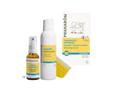 Pranarôm tratamiento antipiojos spray BIO 30ml + champú 125ml + lendrera