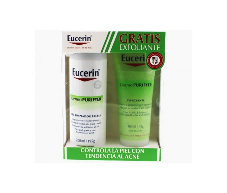 Eucerin Dermopurifyer Acne Cleansing Pack Oily Skin Gel Cleanser 200ml + Exfoliator 100ml