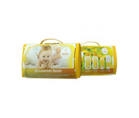 Weleda Pack Bienvenido Bebé baño en crema 200ml+ aceite 200ml + crema pañal 75ml+ crema facial 50ml + neceser y pañal de regalo