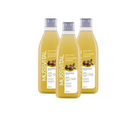 Mussvital Essentials Family Pack Gel De Baño Aceite De Oliva 3x750ml
