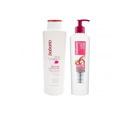 Babaria Pack Rosa Mosqueta leche limpiadora 400ml + leche corporal 6-aceites 400ml
