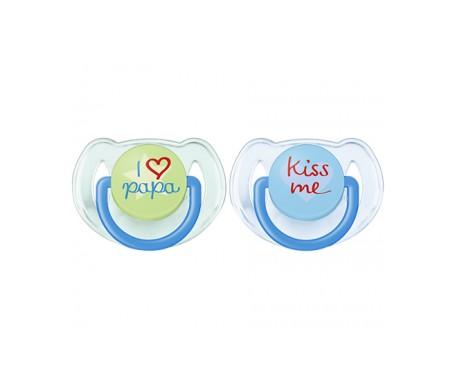 Philips Avent  2 chupetes decorados con textos 6-18 meses niño