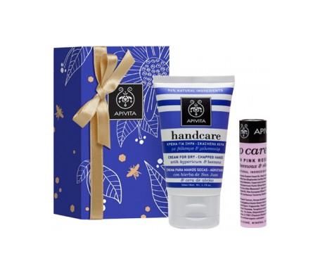 Apivita Pack crema para manos secas y agrietadas 50ml + bálsamo labial con rosa 4,4g de regalo