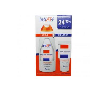 Leti AT4 Pack Piel atópica gel de baño dermograso 750ml + crema hidratante 200ml