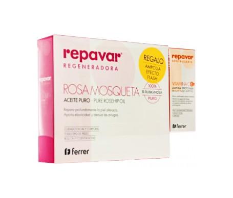Repavar Pack aceite puro rosa mosqueta 15ml+ Vitamina C ampolla efecto flash