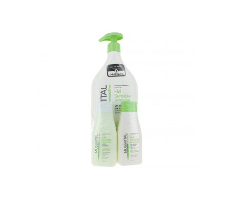 Mussvital Pack piel sensible gel de baño 1000ml+loción hidratante 100ml + gel de baño 100ml