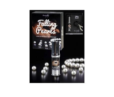 Secret Play Falling Pearls, collar de perlas y lubricante de silicona 15ml